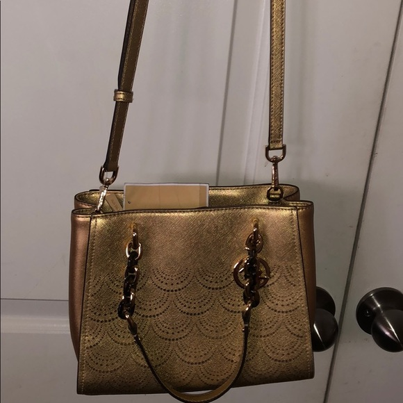 Michael Kors Handbags - Michael Kors Sofia Crossbody gold